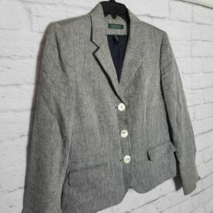 Lauren Ralph Lauren Linen Blazer Jacket Grey